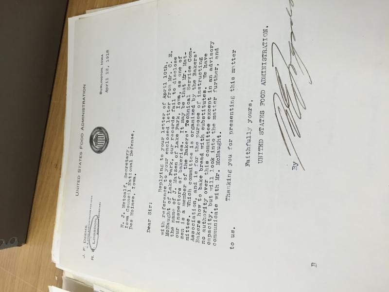 Executive Secretary United States Food Administration to Secretary Iowa National Defense_Metcalf.JPG