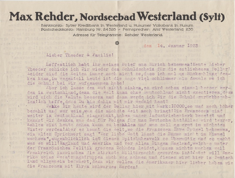 Telegram to Theodor Rehder