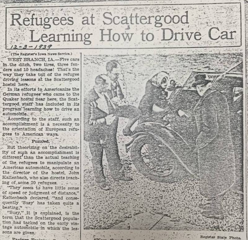 Refugees at Scattergood Learning How to Drive Car
