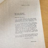 Herbert J. Metcalf to R. H. Williams, Jan. 21, 1918