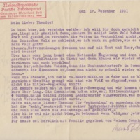 Letter from Max Rehder to Theodor Rehder, December 1931