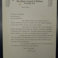 Letter from Adair County Home Council of Defense, Jan. 21, 1918