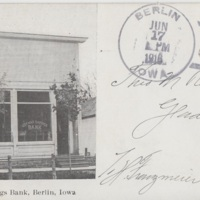 Postcard from Theodor Rehder with image of Berlin, Iowa German Savings Bank, 1916