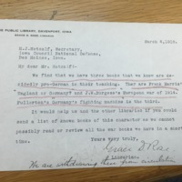 Davenport, IA Public Library response to removing pro-German books.
