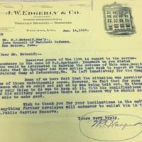 W.T. Harper to H.J. Metcalf, Jan. 14, 1918