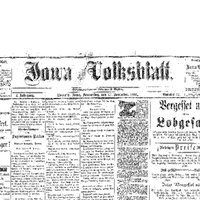 Iowa Volksblatt Front Page