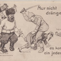 Postcard from Max Rehder with Martial Political Cartoon on Front, 1914