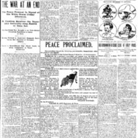Front page of the Dubuque Daily Herald one day after the armistice was signed that ended the Spanish-American War