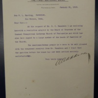 Letter from a Fontanelle Bank to Governor Harding