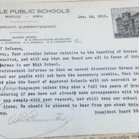 Moville Public Schools to Council of Defense letter, Jan. 14, 1918