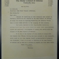 Letter from Adair County Home Coucil of Defense to H. J. Metcalf, Jan. 10, 1918