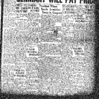 Front-page Anti-German editorial from the Dubuque Times-Journal on November 12th, 1918