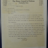 Letter from Adair County Home Coucil of Defense to H. J. Metcalf, Jan. 11, 1918