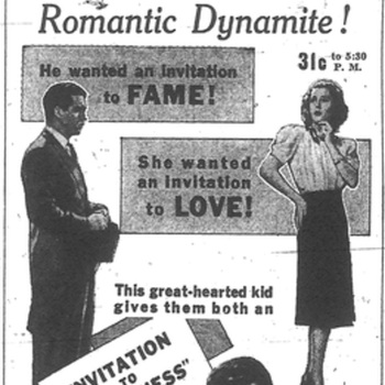 """Ad for the 4th of July screening of """"Invitation to Happiness"""" at the newly air-conditioned Englert Theater"""
