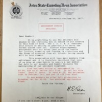 Letter addressing the membership and role of the Iowa State Traveling Men