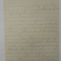 Letter to Governor regarding World War I concerns