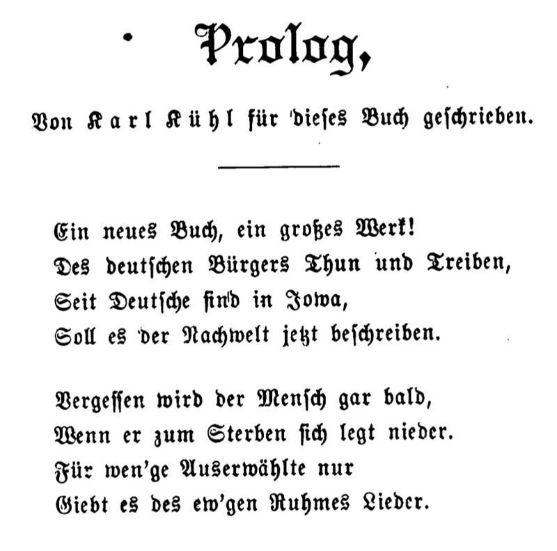 Joseph Eiboeck, Die Deutschen von Iowa: Prolog