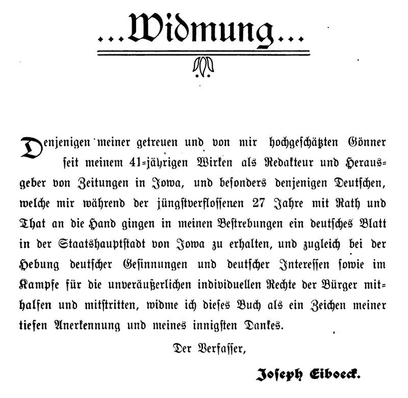 Joseph Eiboeck,<em>Die Deutschen von Iowa</em>: Dedication