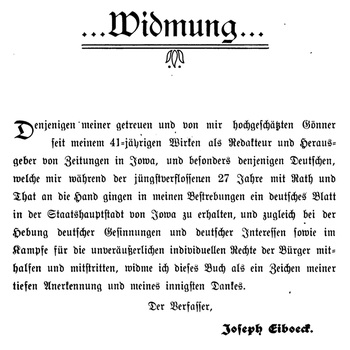 Joseph Eiboeck,Die Deutschen von Iowa: Dedication